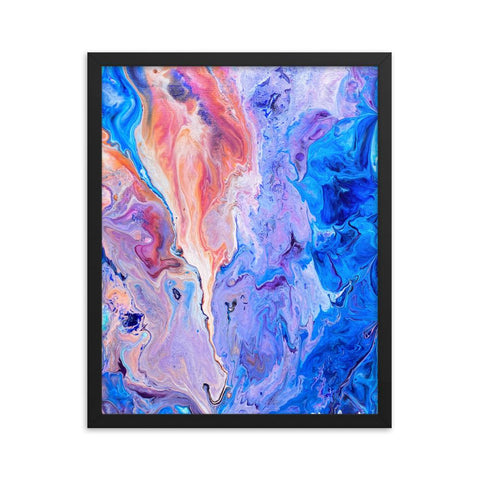Orange & Blue Framed Fluid Art Print