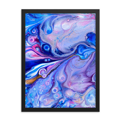 Blue & Pink Framed Fluid Art Print