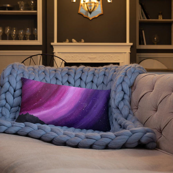 Decorative throw pillow of the aurora night sky