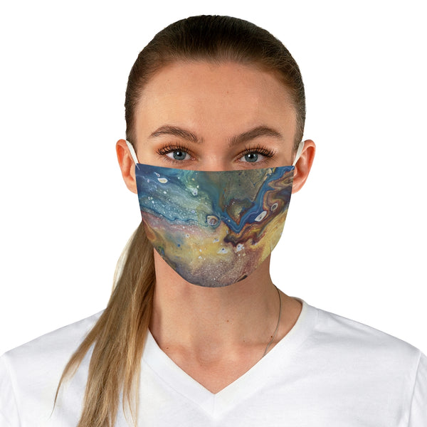 Blue, Yellow and Brown Earthy Fabric Face Mask