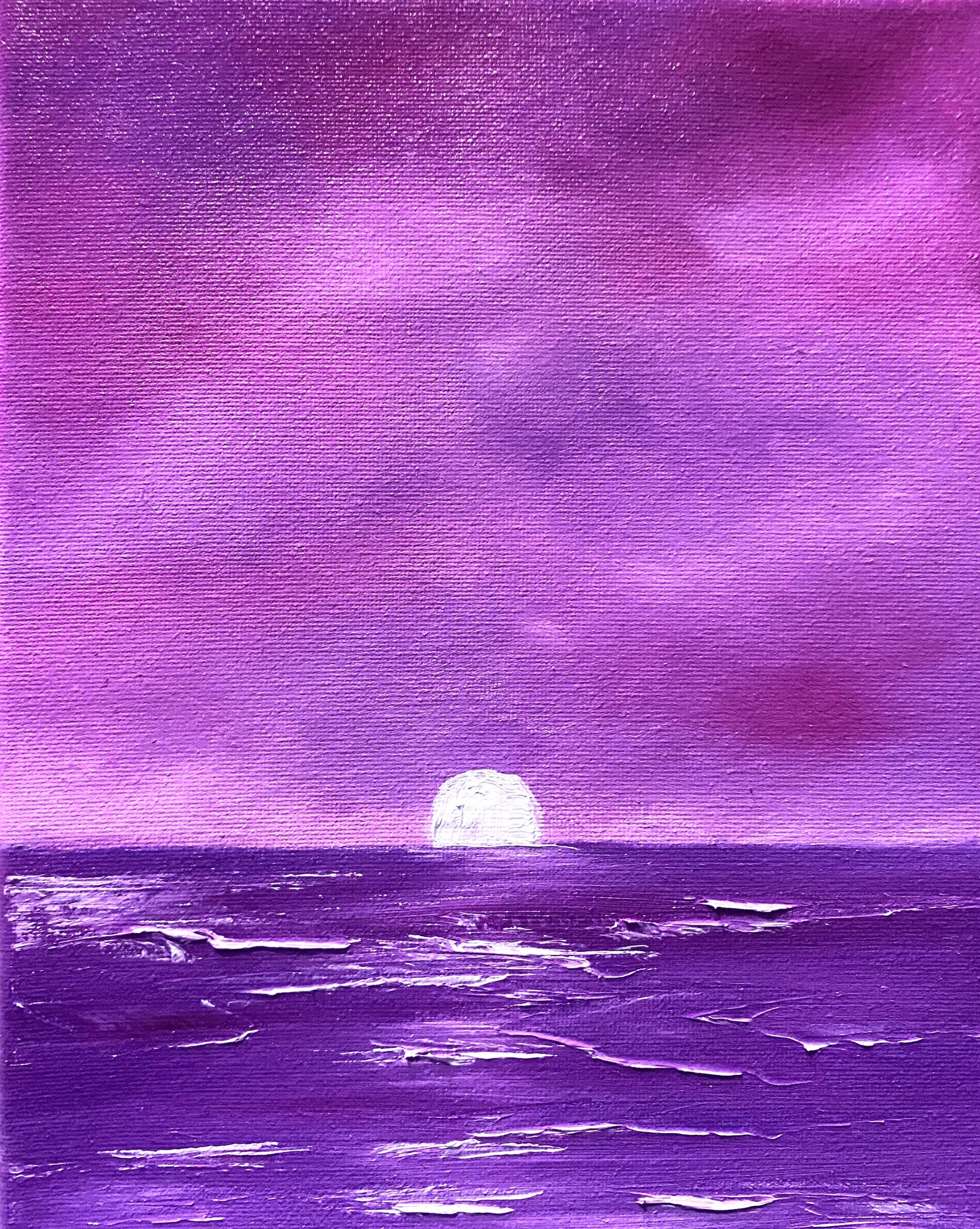 Fantasy seascape art at sunset in pink and purple