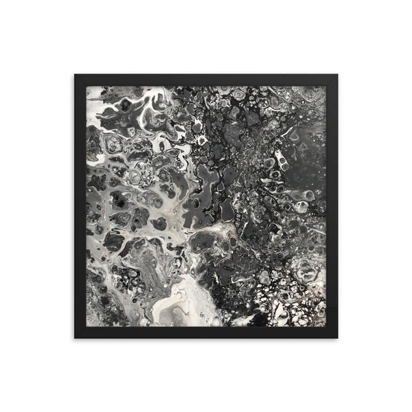 Black & White Framed Fluid Art Print
