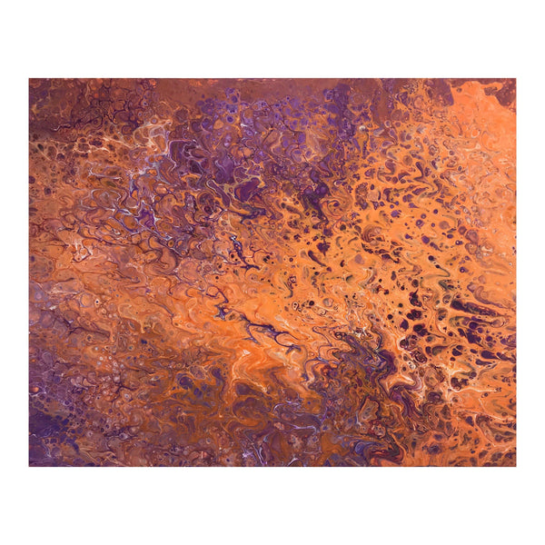 Fluid art acrylic painting in purple and orange, abstract art
