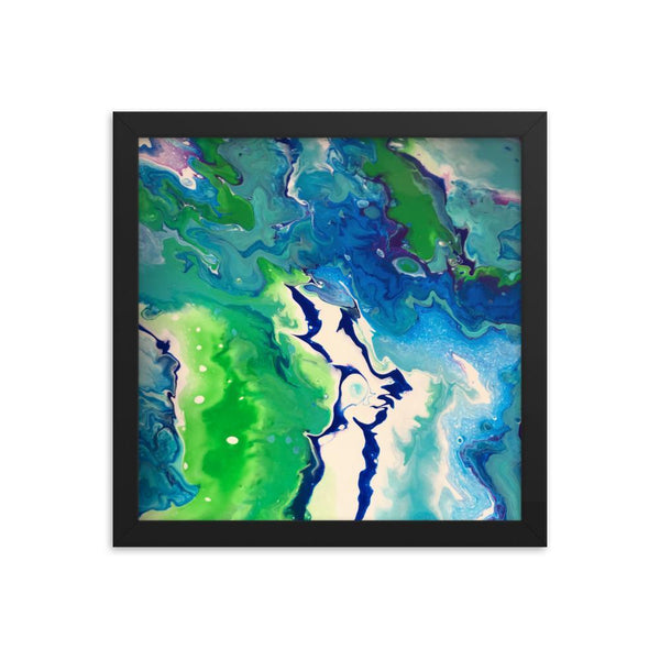 Fluid Art Framed Print Poster, Abstract Art Home Decor Wall Decor in Green,Blue and White
