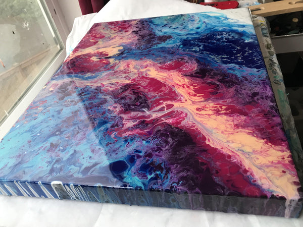 Fluid Art Original Acrylic Painting with Resin in Blue, Magenta and White. Glossy Brilliant Finish