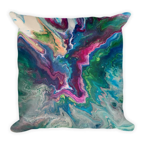 Fluid Art Pillow, Abstract Art Throw Pillow in Blue, Magenta, Green and White