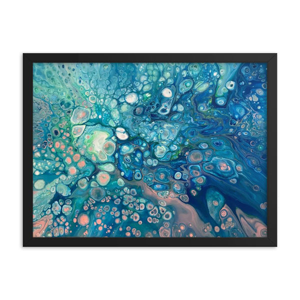 Fluid Painting Abstract Art Print, framed poster of underwater coral reef