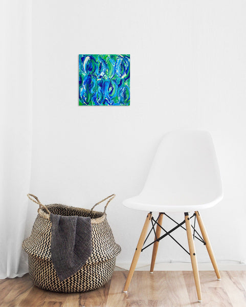 Abstract original acrylic painting in blue and green