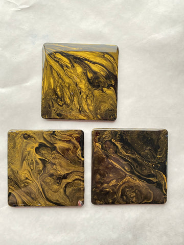 Black & Gold Coasters - Set of 3