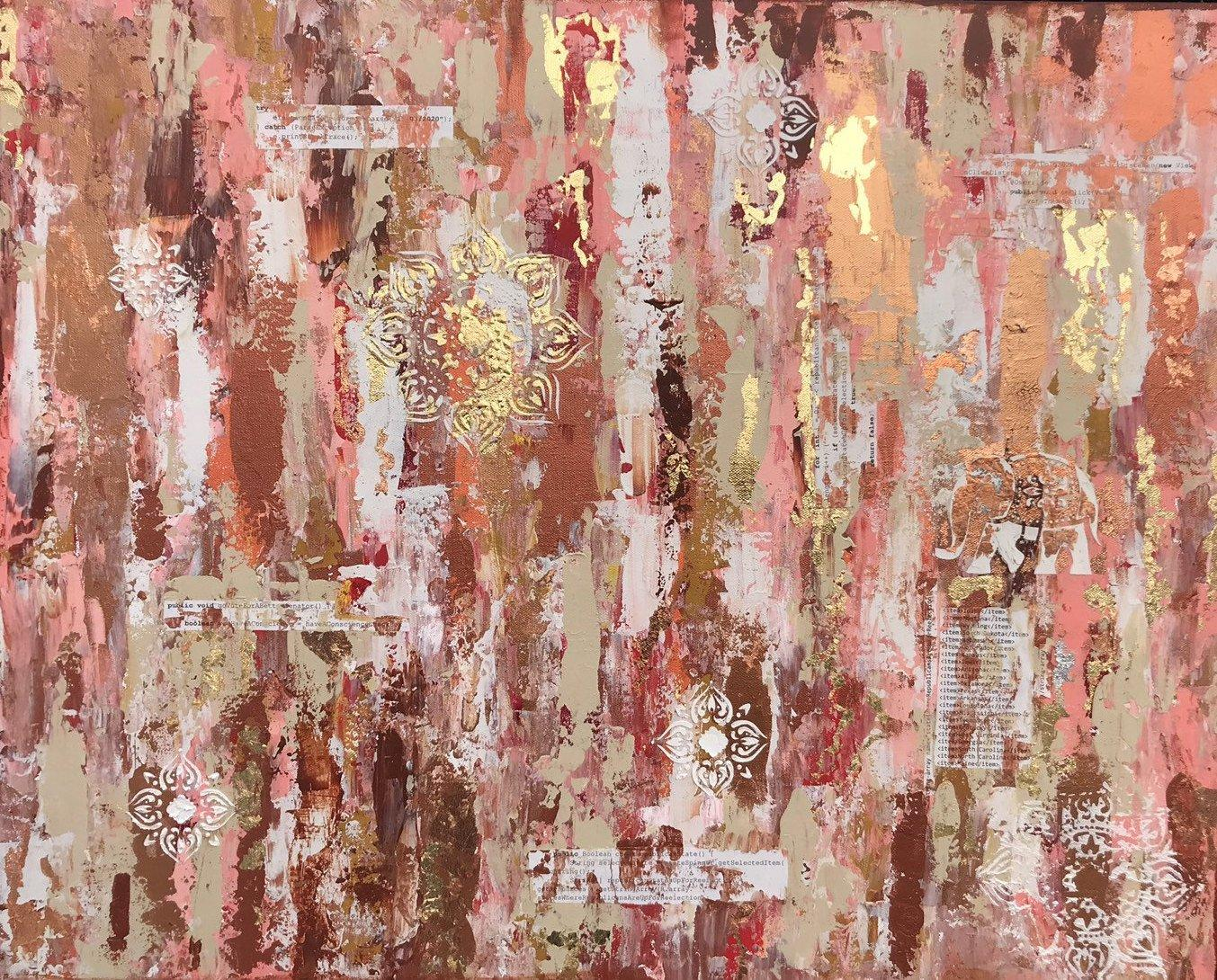 Large original painting - political abstract art with software code about voting