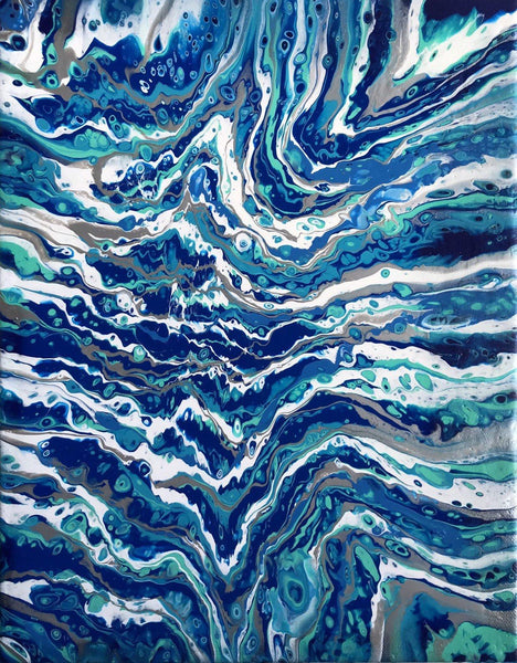 Ocean Waves on the Beach Fluid Art Print
