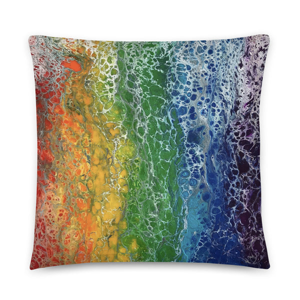 Rainbow Flag Pillow, LGBTQ LGBT Art Print Home Decor Throw Couch Sofa Pillow