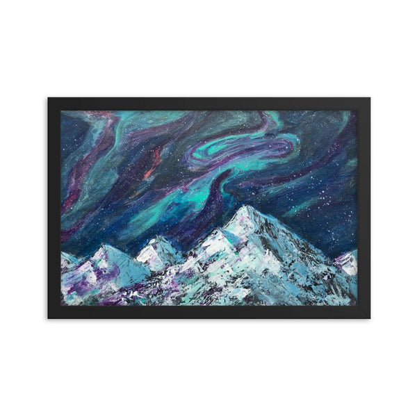 Northern Lights Aurora Framed Art Print Poster, Abstract mountains and night sky fluid art