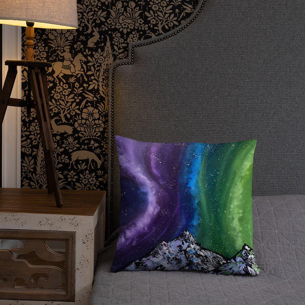 Northern lights decorative throw pillow of Aurora over the mountains