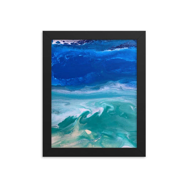 Ocean Beach Art Print Framed Poster, Fluid Abstract Art