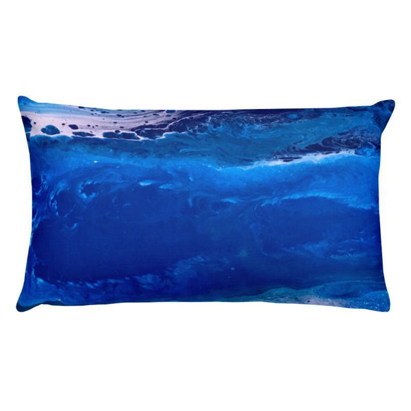 Ocean Beach Decorative Pillow, Fluid Abstract Art of Sea Waves for Home Office Beach House Decor