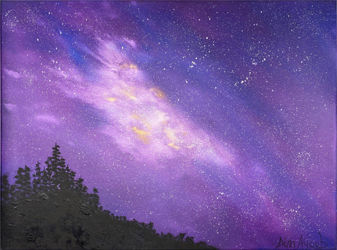 Original oil painting of fantasy landscape of stars and space with trees silhouette