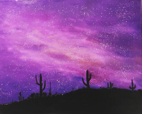 Original oil painting of night sky in the desert, starry night