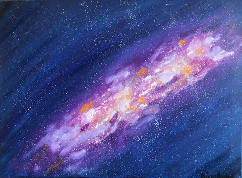 Original oil painting of space, galaxy and stars