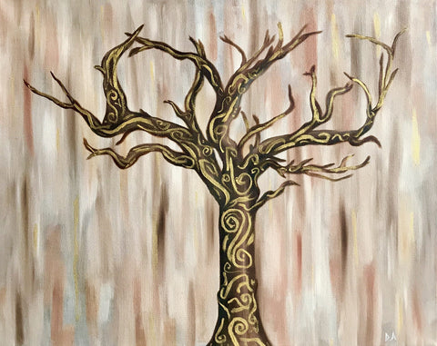 "Original Oil Painting ""Whimsical Tree of Life,"" 16x20"" on Gallery-Wrapped Canvas"