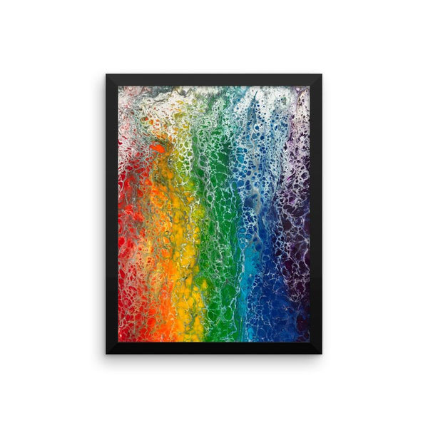 Rainbow flag fluid art print, LGBTQ framed poster