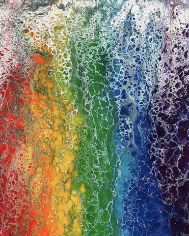Matted rainbow flag art print of abstract acrylic pour painting, LGBTQ Art