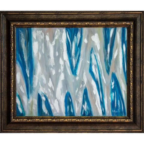 Silver Blues Original Oil Painting, Framed