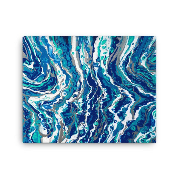 Blue Waves Canvas Art Print of Fluid Art
