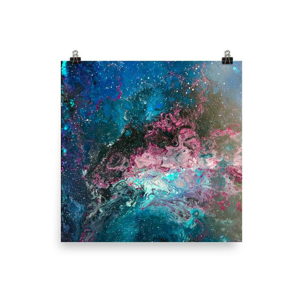Space Art Poster, Fluid Abstract art of the cosmos, nebula stars galaxy Milky Way for space lovers