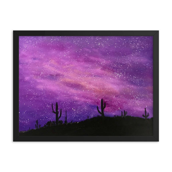 Space Art Print Framed poster, fantasy night sky in the desert
