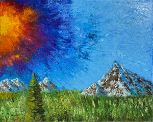 Abstract Sun & Mountains Original Oil Painting