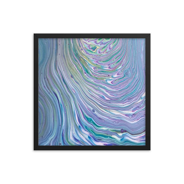 Tree Ring Acrylic Pour Fluid Art Framed Print Poster in Blues