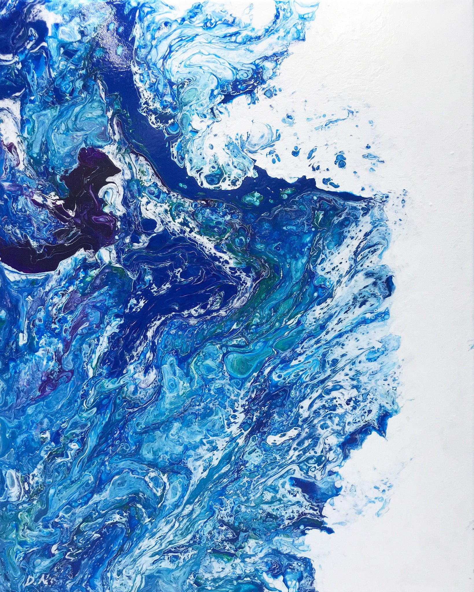 Frothing, Original Acrylic Fluid Art Painting 16x20""