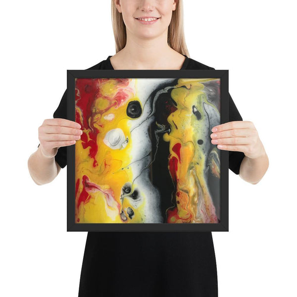 Yellow, Black and Red Fluid Art Framed Print Poster