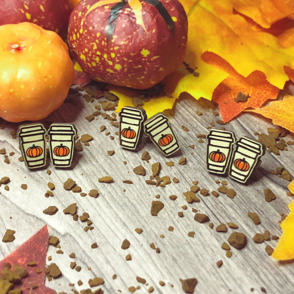 Pumpkin Coffee Stud Earring