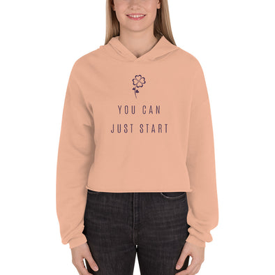 You Can Just Start Crop Hoodie Peach