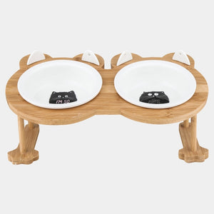 Ceramics Single And Double Food Bowl For Eating And Drinking With Wooden Frame