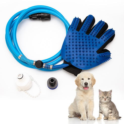 Handheld pet bathing shower tool for pets shower dog pet shower head hot dog sprayer bathing glove 360 washing hair long hose