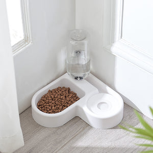 Corner Pet Water & Food Dispenser Bowl