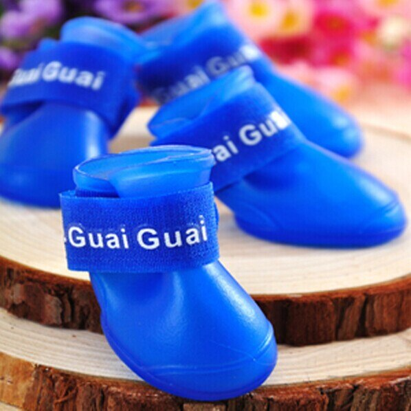 4pcs Waterproof Rain Dog Shoes