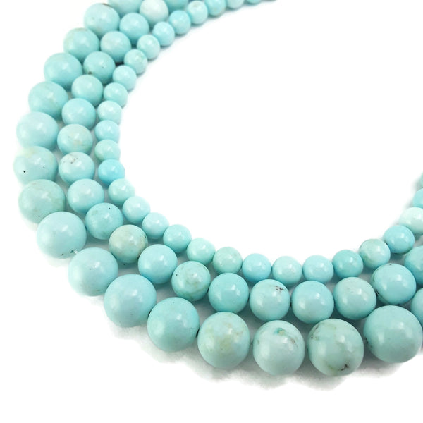light blue turquoise smooth round beads