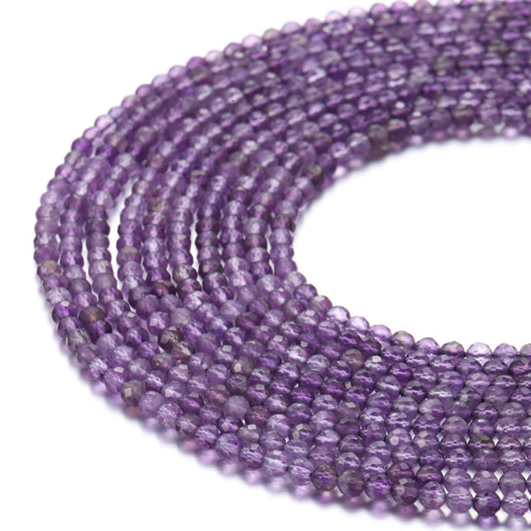 amethyst faceted round beads