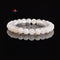 Natural White Agate Smooth Round Elastic Bracelet Bead Size 6.5-7mm 7.5'' Length