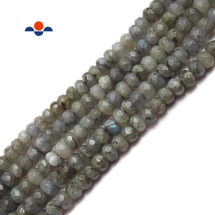 "Labradorite Faceted Rondelle Beads 4x6mm 5x8mm 15.5"" Strand"