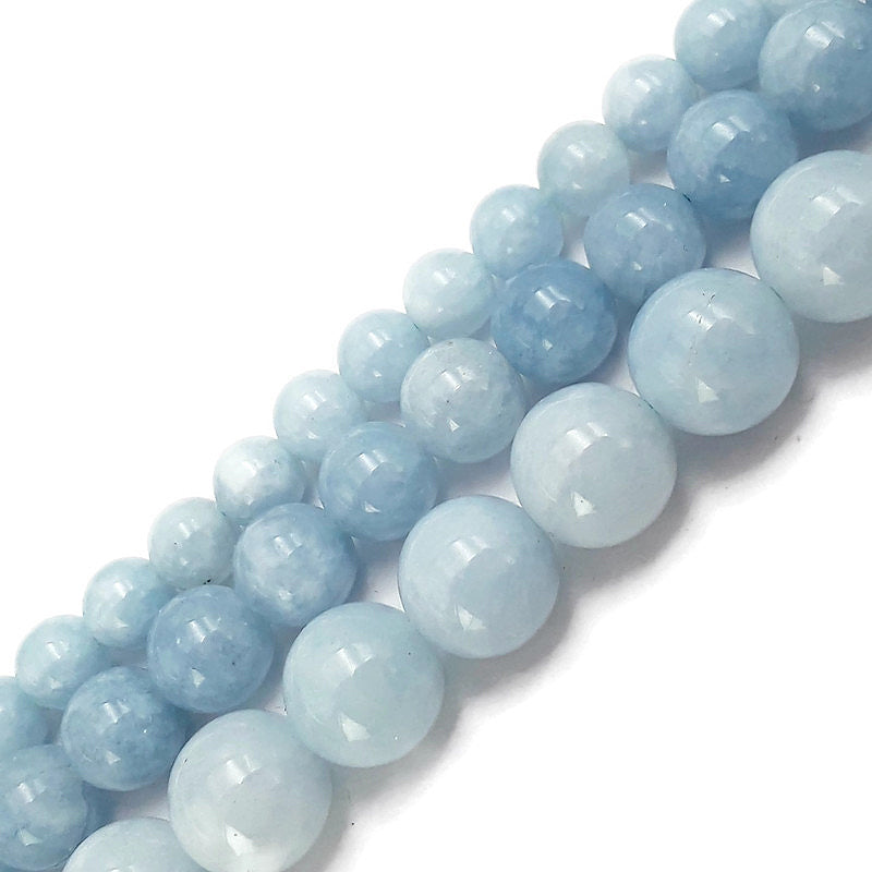 cloudy blue dyed jade smooth round beads