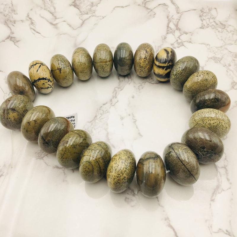 flower picture jasper smooth rondelle beads