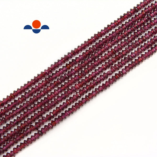 "Natural Purple Garnet Faceted Rondelle Discs Beads Size 2x3mm 15.5"" Strand"