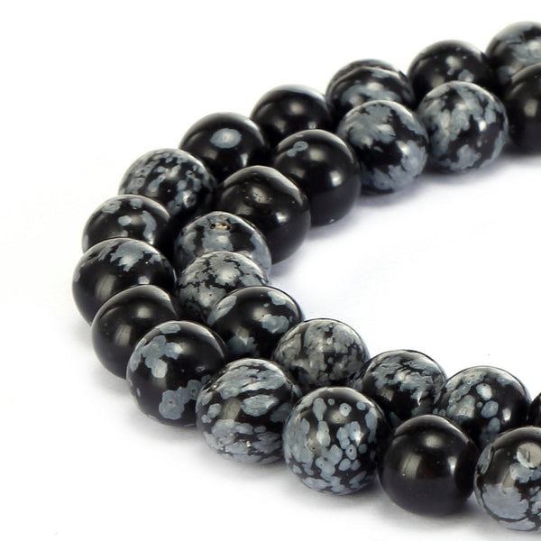 "2.0mm Hole Snowflake Obsidian Smooth Round Beads 6mm 8mm 10mm 15.5"" Strand"