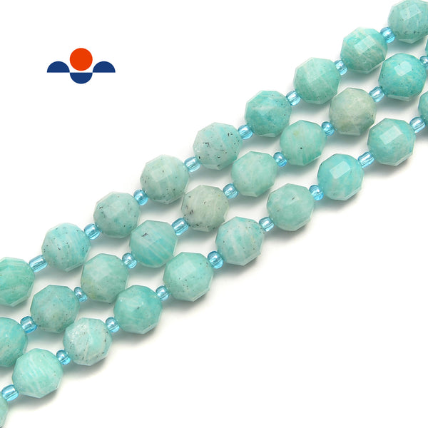 Green Blue Amazonite Hard Cut Faceted Off Round Beads Size 9x10mm 15.5'' Strand