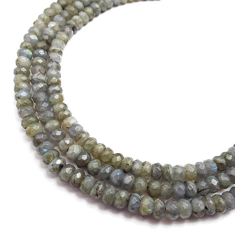 natural labradorite faceted rondelle beads